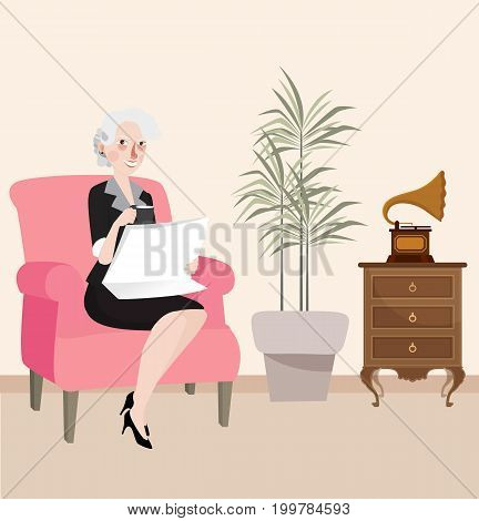 grandma reading newspaper sitting in sofa while playing listening music from gramophone vector
