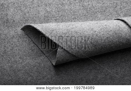 Tweed Fabric, Wool Gray Herringbone Textile Background.