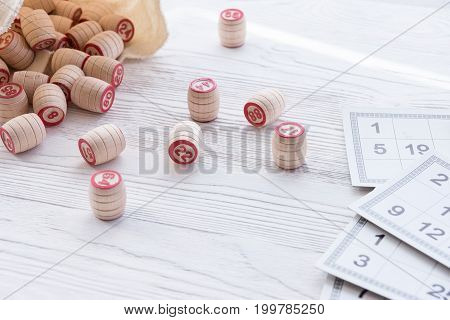 Board game lotto on white background lottery