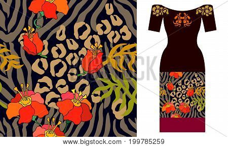 Seamless vector pattern with leaves. Summer textile collection.