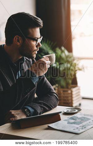 Businessman Drinking Coffee