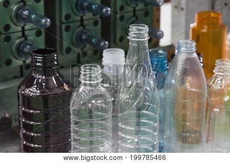 The various type sample of plastic bottle.Plastic bottle container product.