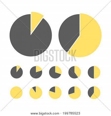 Percentage vector infographics. Pie chart statistic concept. Business flow process diagram. Infographic elements for presentation.