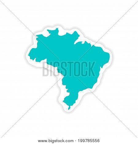 paper sticker Brazilian map on white background