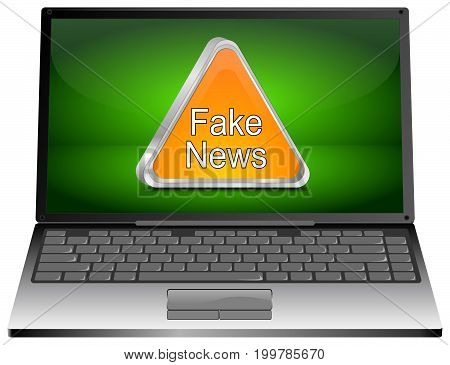 Laptop Computer with orange Fake News warning sign - 3D illustration