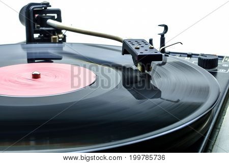 Retro Party Dj Turntable To Play Music On Vinyl Audio Disc.hifi Audiophile Turn Table Device.