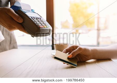 Payment With Credit Card By Woman