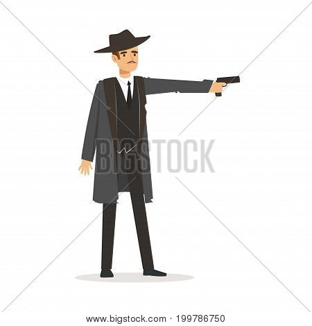 Mafia hitman character in gray coat and fedora hat standing aiming with gun vector Illustration isolated on a white background