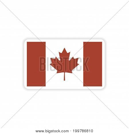 paper sticker Canadian flag on white background
