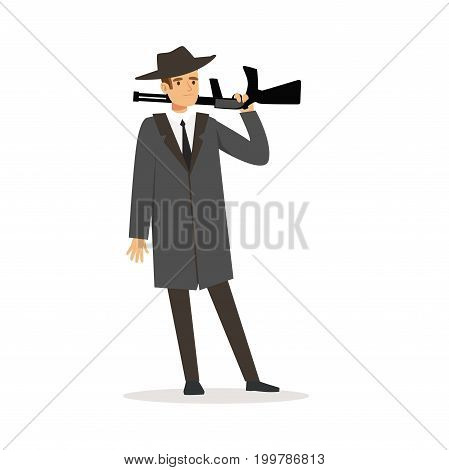 Mafia man character in gray coat and fedora hat standing with gun vector Illustration isolated on a white background
