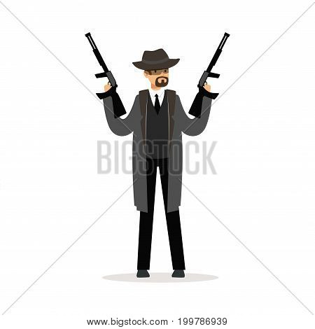 Mafia man character in gray coat and fedora hat holding two submachine guns vector Illustration isolated on a white background