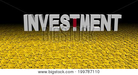 Investment text with Japanese flag with coins 3d illustration