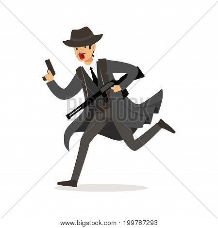 Mafia man character in gray coat and fedora hat running with guns vector Illustration isolated on a white background