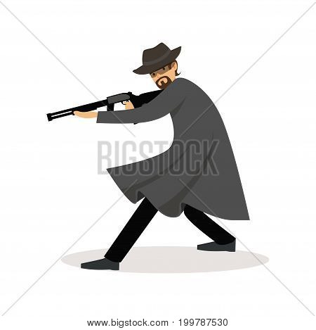 Mafia man character in gray coat and fedora hat standing aiming with submachine gun vector Illustration isolated on a white background