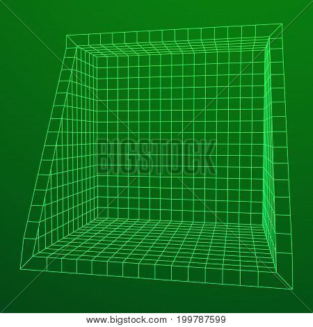 Wireframe Mesh Slice Box. Connection Structure. Digital Data Visualization Concept. Vector Illustration.