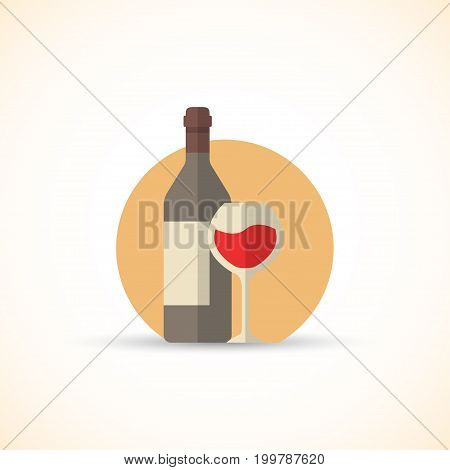 Vector illustration of wine bottle with glass in a flat design style