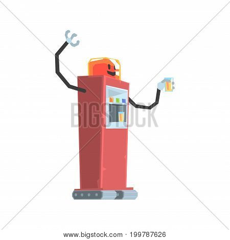 Cute cartoon red robot soda vending machine character vector Illustration on a white background