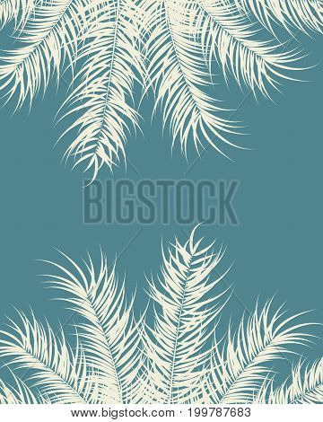 Tropical design with vanilla palm leaves and plants on blue background vector illustration