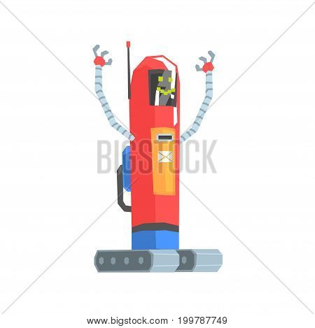 Cute red cartoon robot postman character vector Illustration on a white background