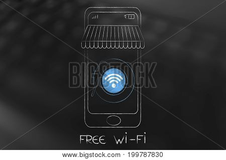 Wifi Symbol Into Coffee Cup Icon In Smartphone Screen With Shop Awnings