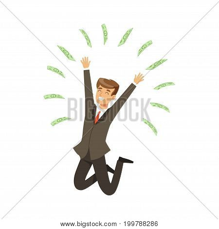 Happy rich successful businessman character having fun, money flying around himvector Illustration isolated on a white background