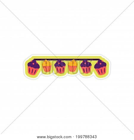 stylish paper sticker on white background garland cupcakes