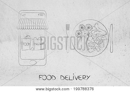 Smartphone With Delivery Bags On The Screen Next To Recipe Plate
