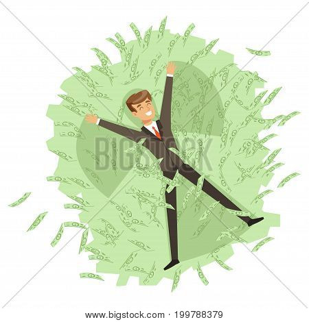 Happy rich successful businessman character bathing in the sea of green banknotes vector Illustration isolated on a white background