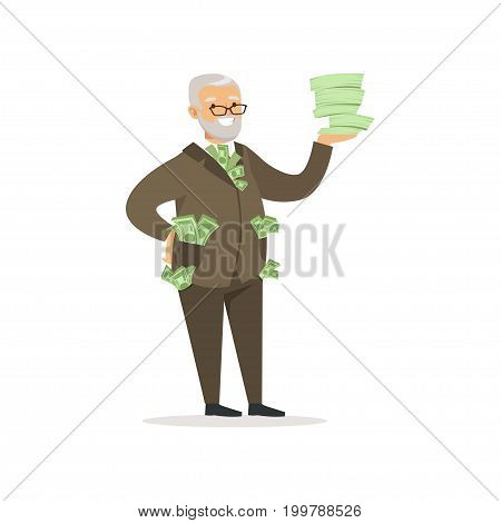 Happy rich successful senior businessman character with a lot of money vector Illustration isolated on a white background