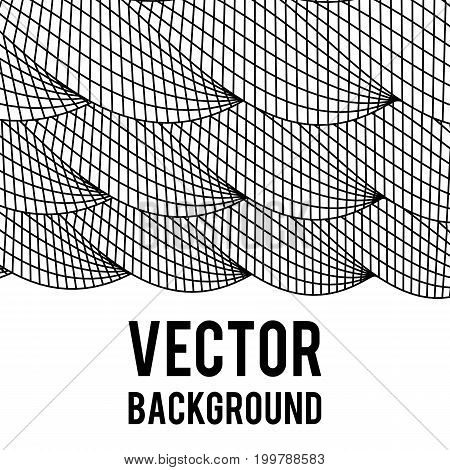Wireframe Mesh Twist Columns Background With Copy Space. Connection Structure. Big Data Visualization Concept. Vector Illustration.