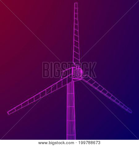 Wind turbine with propeller. Windmill generator wireframe low poly mesh. Vector illustration