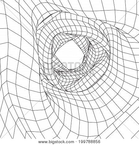 Wireframe Mesh Organic Tube. Connection Structure. Big Data Visualization Concept. Vector Illustration.