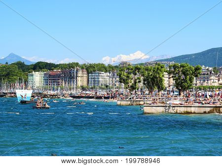 Bains des Paquis during summertime at the lake of Geneva, Geneva city