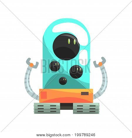Ffunny cartoon robot crawler character with glass blue lense vector Illustration on a white background