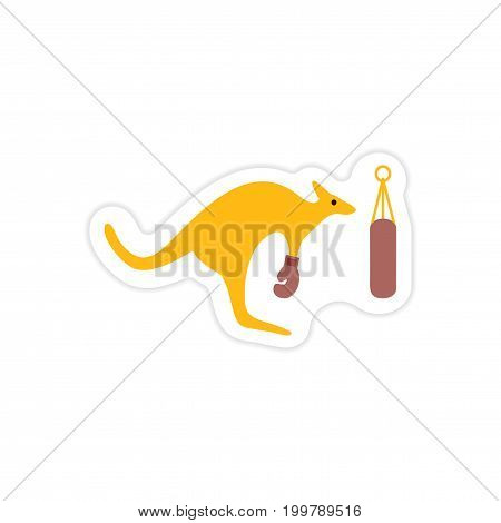 stylish paper sticker on white background kangaroo boxe