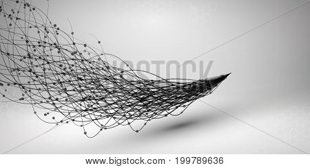 Wave. Swirl with connected line and dots. Wired structure. Connection concept. Technology background. Vector illustration.