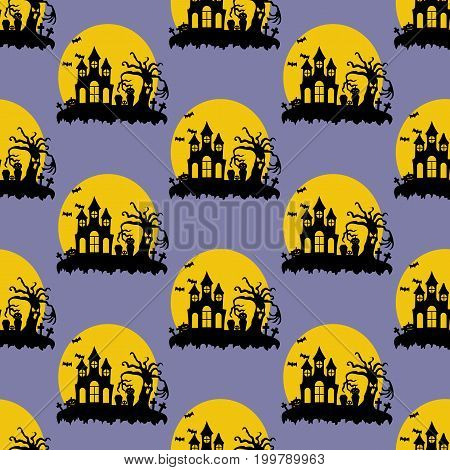 Halloween pattern on the purple background. Vector illustration