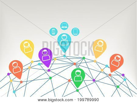 Connectivity and communication within social network with icons