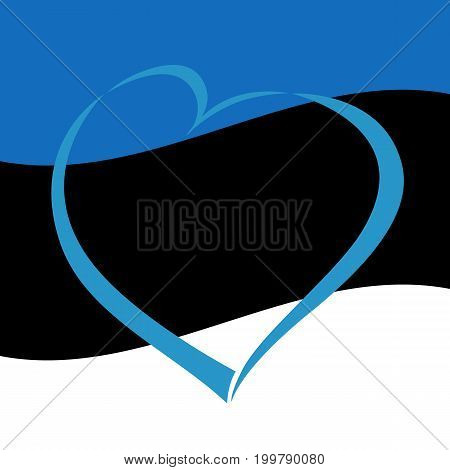 Love Estonia heart greeting card. Independence day of Estonia blue heart on national flag vector background