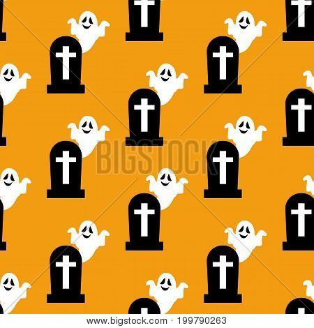 Headstone and ghost pattern on the yellow background. Vector illustration