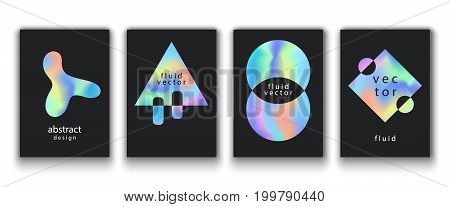 Posters Set With Fluid Colorful Shapes. Creative Abstract Vector Background. Trendy Banner, Card Template. Futuristic Cover