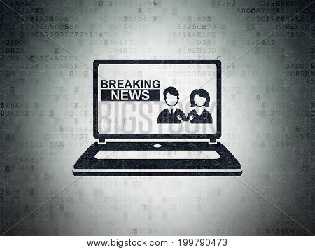 News concept: Painted black Breaking News On Laptop icon on Digital Data Paper background