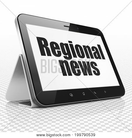 News concept: Tablet Computer with black text Regional News on display, 3D rendering