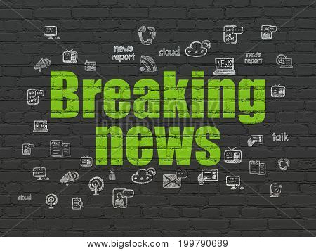 News concept: Painted green text Breaking News on Black Brick wall background with  Hand Drawn News Icons