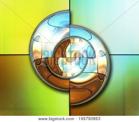 3D rendering combo artwork with fractal and fractal buttons