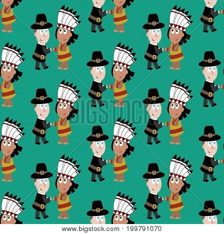 Pilgrims and indians on the green background. Vector illustration
