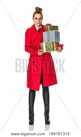 Trendy Woman In Red Coat On White With Christmas Present Boxes
