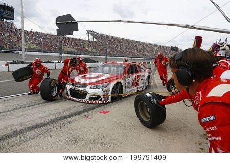 August 13, 2017 - Brooklyn, Michigan, USA: Kyle Larson (42) brings his car down pit road for service during the Pure Michigan 400 at Michigan International Speedway in Brooklyn, Michigan.