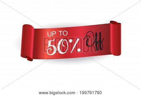 Red Ribbon Sale discount banner. Up to 50% off - text on Red curled ribbon sign, realistic shine satin ribbon 3D vector. Sale icon design. Sales special offer icon illustration.