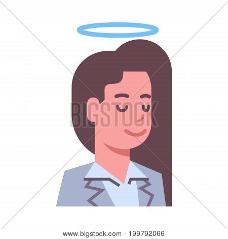 Female Head With Nimbus Emotion Icon Isolated Avatar Woman Facial Expression Concept Face Vector Illustration